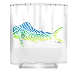 Tribal Mahi Mahi Shower Curtain