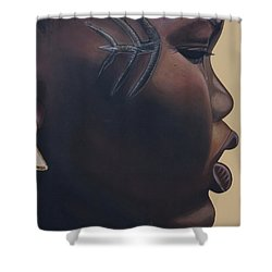 Tribal Mark Shower Curtain by Kaaria Mucherera