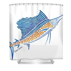 Tribal Sailfish Shower Curtain