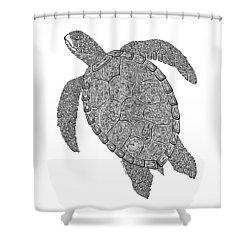 Tribal Turtle II Shower Curtain by Carol Lynne
