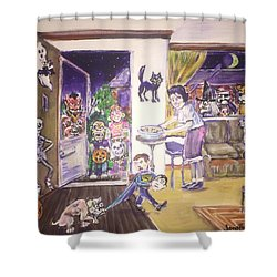 Trick Or Treat On Exeter Street Shower Curtain