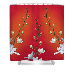 Trifecta Of Orchids Shower Curtain by Tom Mc Nemar