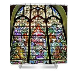 Shower Curtain featuring the photograph Trinity Church Galveston by Wilhelm Hufnagl
