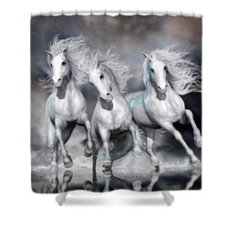 Shower Curtain featuring the digital art Trinity Galloping Horses Blue by Shanina Conway