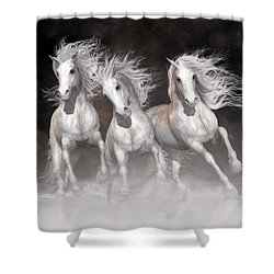 Shower Curtain featuring the digital art Trinity Horses Neutrals by Shanina Conway