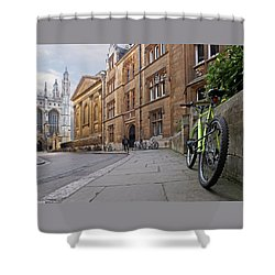 Shower Curtain featuring the photograph Trinity Lane Clare College Cambridge Great Hall by Gill Billington