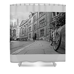 Shower Curtain featuring the photograph Trinity Lane Clare College Great Hall In Black And White by Gill Billington