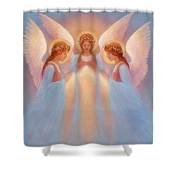 Trinity Of Angels Shower Curtain by Jack Shalatain