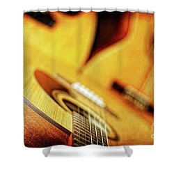 Trio Of Acoustic Guitars Shower Curtain by Lincoln Rogers