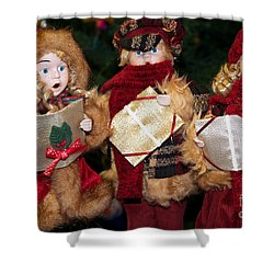 Trio Of Carolers Shower Curtain by Vinnie Oakes