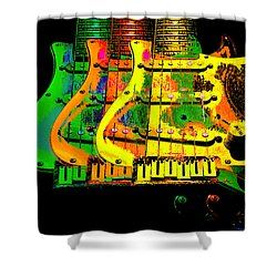 Shower Curtain featuring the photograph Triple Pickguards by Guitar Wacky