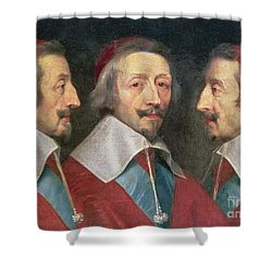 Triple Portrait Of The Head Of Richelieu Shower Curtain by Philippe de Champaigne