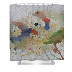 Shower Curtain featuring the painting Triple Rooster Race by Vicki  Housel