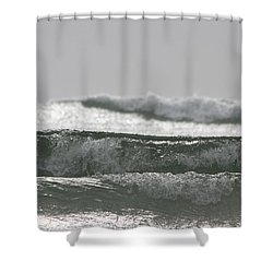 Shower Curtain featuring the photograph Triple Wave Action by Holly Ethan