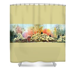 Triptych Shower Curtain by Lynn Quinn