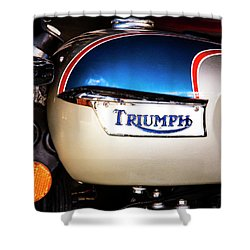 Triumph Motorcyle Shower Curtain by Andy Crawford