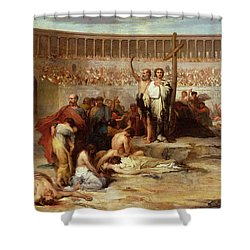 Triumph Of Faith    Christian Martyrs In The Time Of Nero Shower Curtain by Eugene Romain Thirion