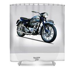Triumph Tiger 110 1956 Shower Curtain by Mark Rogan