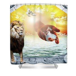Triune Protection Shower Curtain by Dolores Develde