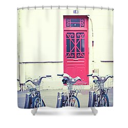 Shower Curtain featuring the photograph Trois - Three Bicycles In Paris by Melanie Alexandra Price