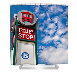 Trolley Stop Shower Curtain by Bob Pardue