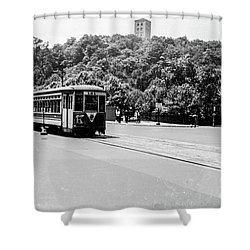 Shower Curtain featuring the photograph Trolley With Cloisters by Cole Thompson