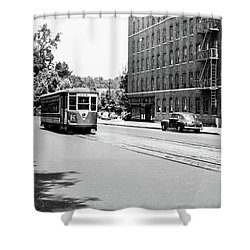 Shower Curtain featuring the photograph Trolley With Packard Building  by Cole Thompson