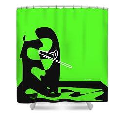 Trombone In Green Shower Curtain