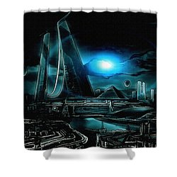 Tron Revisited Shower Curtain by Mario Carini