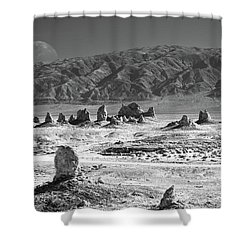 Trona Pinnacles With The Moon Shower Curtain by Marius Sipa