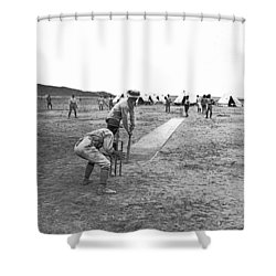 Troops Playing Cricket Shower Curtain by Underwood Archives