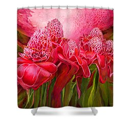 Shower Curtain featuring the mixed media Tropic Garden - Torch Ginger by Carol Cavalaris