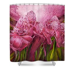 Shower Curtain featuring the mixed media Tropic Garden - Torch Ginger Pink by Carol Cavalaris