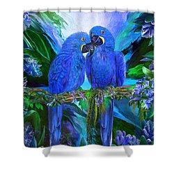 Shower Curtain featuring the mixed media Tropic Spirits - Hyacinth Macaws by Carol Cavalaris