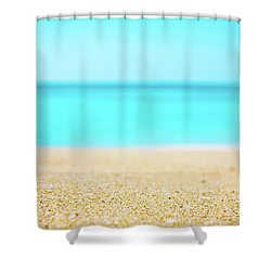 Tropical Art - Turquoise Sand Beach Lagoon Photography Shower Curtain by Modern Art Prints