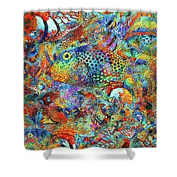 Shower Curtain featuring the painting Tropical Beach Art - Under The Sea - Sharon Cummings by Sharon Cummings