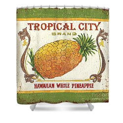 Tropical City Pineapple Shower Curtain by Debbie DeWitt