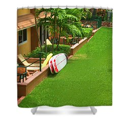 Tropical Courtyard Shower Curtain