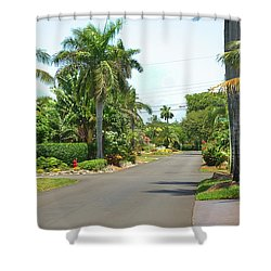 Tropical Feel Residential Street Shower Curtain
