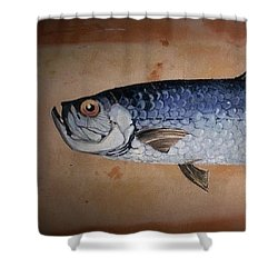 Shower Curtain featuring the painting Tropical Fish by Andrew Drozdowicz