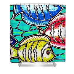 Shower Curtain featuring the painting Tropical Fish Swim by Jim Harris