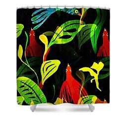 Tropical Flock Shower Curtain by Sarah Loft