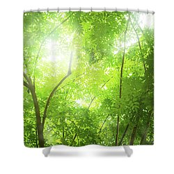 Tropical Forest Shower Curtain by Atiketta Sangasaeng
