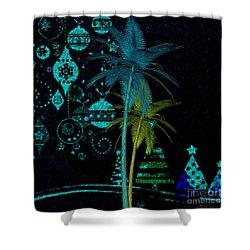 Shower Curtain featuring the digital art Tropical Holiday Blue by Megan Dirsa-DuBois