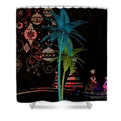 Shower Curtain featuring the digital art Tropical Holiday Red by Megan Dirsa-DuBois