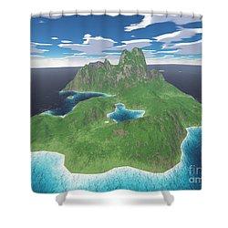 Tropical Island Shower Curtain by Gaspar Avila