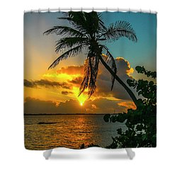 Tropical Lagoon Sunrise Shower Curtain