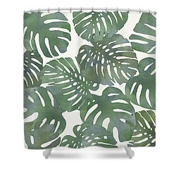 Tropical Leaf Pattern 3 Shower Curtain by Stanley Wong