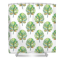Shower Curtain featuring the mixed media Tropical Leaves On White- Art By Linda Woods by Linda Woods