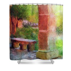 Shower Curtain featuring the digital art Tropical Memories by Lois Bryan